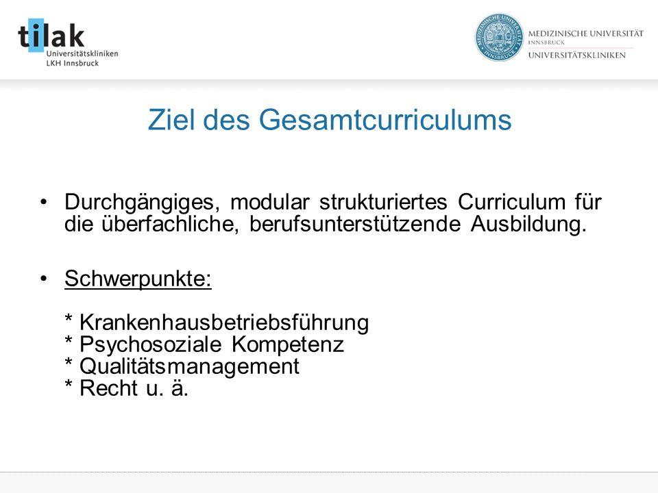 Ziel des Gesamtcurriculums Durchgängiges, modular strukturiertes Curriculum für die überfachliche, berufsunterstützende Ausbildung.