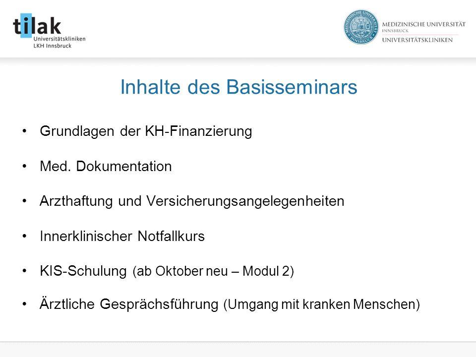 Inhalte des Basisseminars Grundlagen der KH-Finanzierung Med.