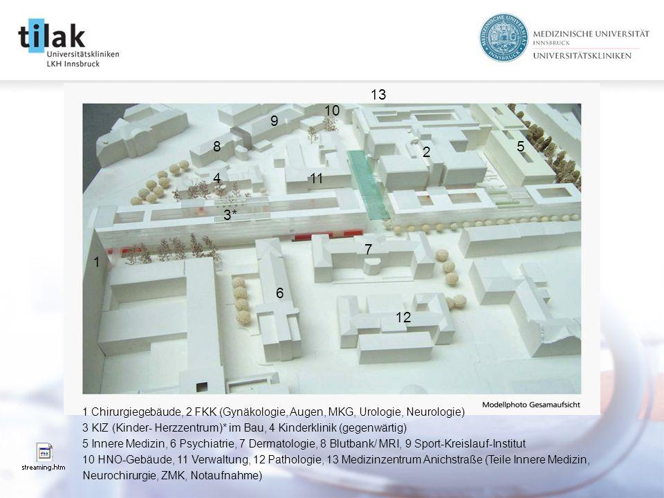1 2 3* 1 Chirurgiegebäude, 2 FKK (Gynäkologie, Augen, MKG, Urologie, Neurologie) 3 KIZ (Kinder- Herzzentrum)* im Bau, 4 Kinderklinik (gegenwärtig) 5 Innere Medizin, 6 Psychiatrie, 7 Dermatologie, 8 Blutbank/ MRI, 9 Sport-Kreislauf-Institut 10 HNO-Gebäude, 11 Verwaltung, 12 Pathologie, 13 Medizinzentrum Anichstraße (Teile Innere Medizin, Neurochirurgie, ZMK, Notaufnahme) 6 7 4 58 9 10 11 12 13
