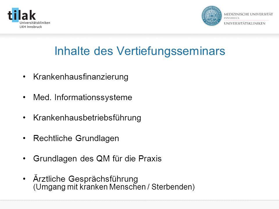 Inhalte des Vertiefungsseminars Krankenhausfinanzierung Med.
