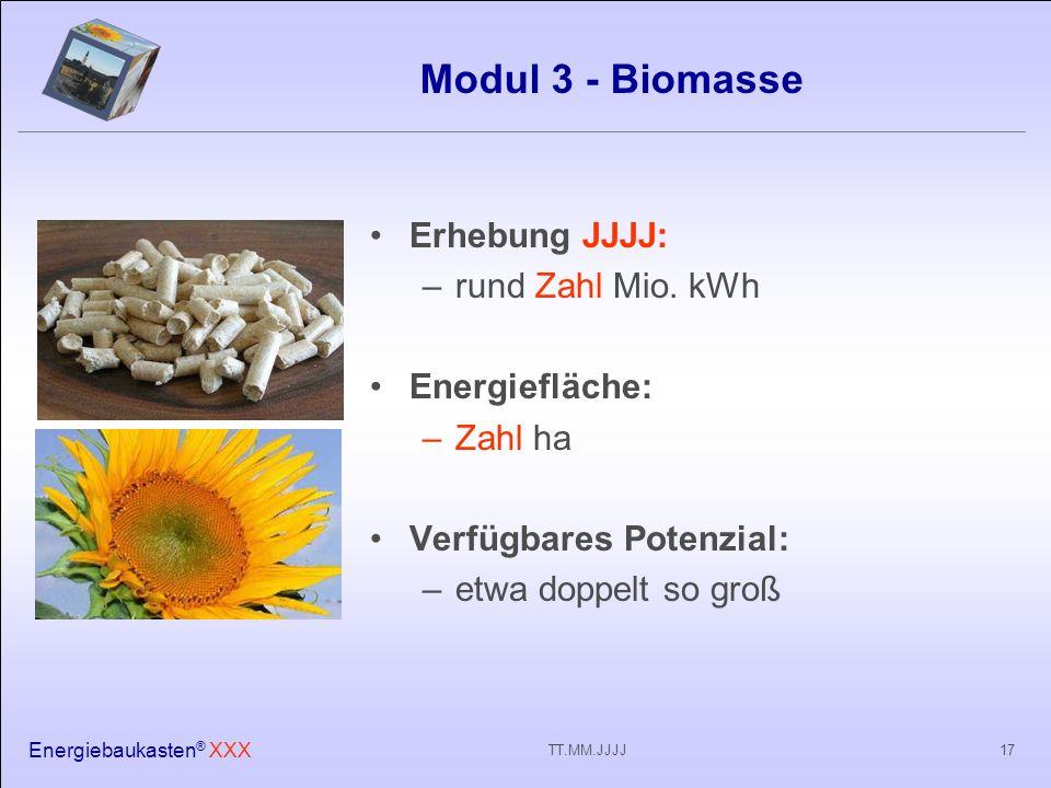 Energiebaukasten ® XXX 17TT.MM.JJJJ Modul 3 - Biomasse Erhebung JJJJ: –rund Zahl Mio.