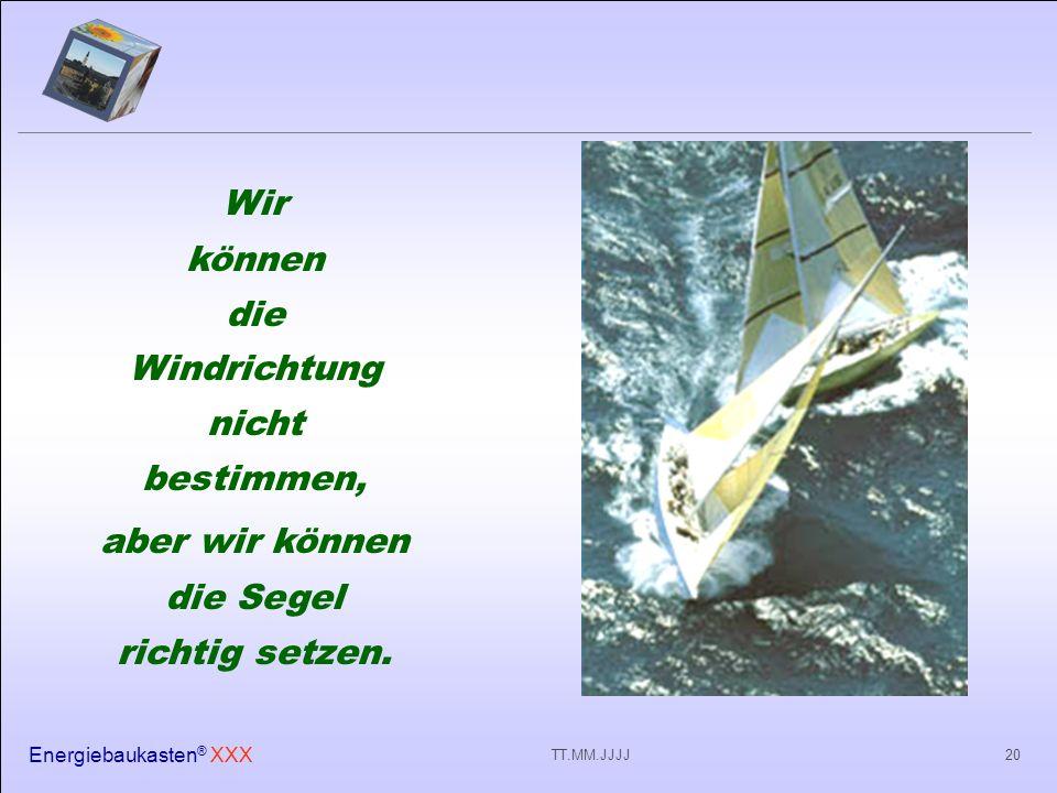 Energiebaukasten ® XXX 20TT.MM.JJJJ Wir können die Windrichtung nicht bestimmen, aber wir können die Segel richtig setzen.