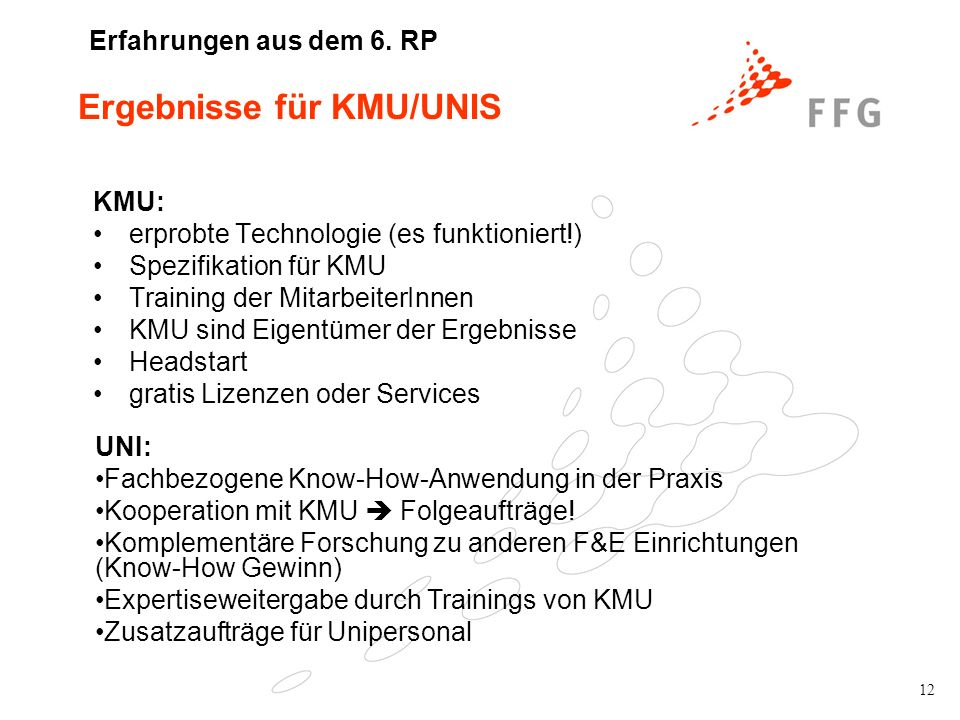 12 Ergebnisse für KMU/UNIS KMU: erprobte Technologie (es funktioniert!) Spezifikation für KMU Training der MitarbeiterInnen KMU sind Eigentümer der Er