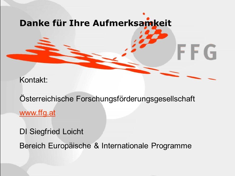 18 Danke für Ihre Aufmerksamkeit Kontakt: Österreichische Forschungsförderungsgesellschaft www.ffg.at DI Siegfried Loicht Bereich Europäische & Intern