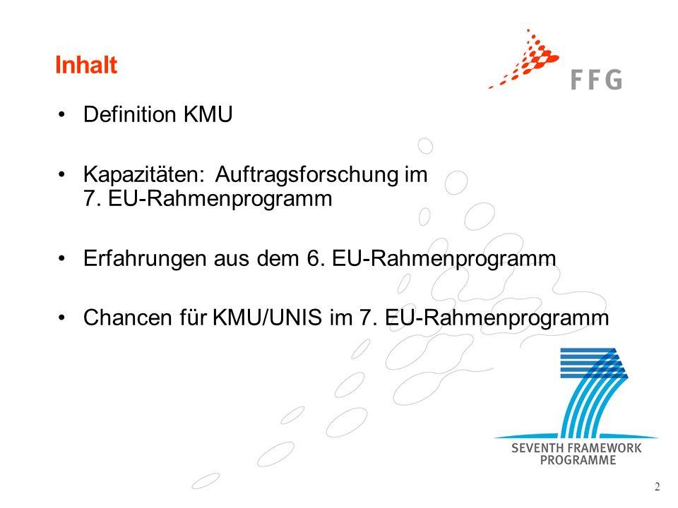 2 Inhalt Definition KMU Kapazitäten: Auftragsforschung im 7. EU-Rahmenprogramm Erfahrungen aus dem 6. EU-Rahmenprogramm Chancen für KMU/UNIS im 7. EU-