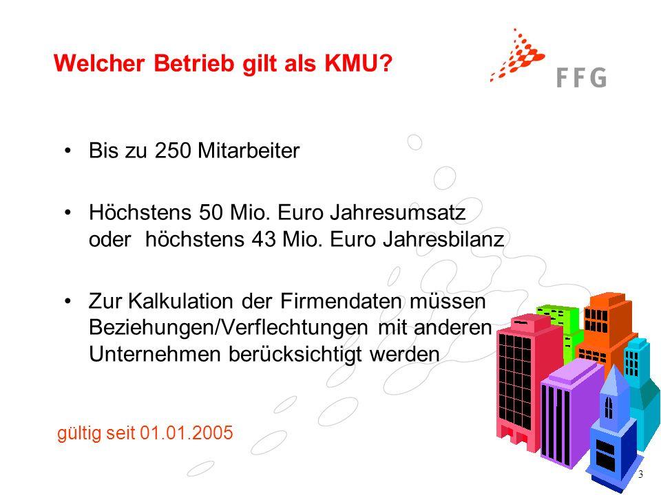 3 Welcher Betrieb gilt als KMU? Bis zu 250 Mitarbeiter Höchstens 50 Mio. Euro Jahresumsatz oder höchstens 43 Mio. Euro Jahresbilanz Zur Kalkulation de