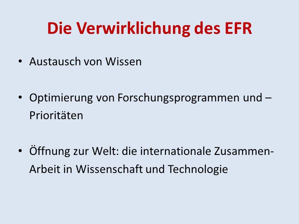 Die Verwirklichung des EFR Austausch von Wissen Optimierung von Forschungsprogrammen und – Prioritäten Öffnung zur Welt: die internationale Zusammen- Arbeit in Wissenschaft und Technologie