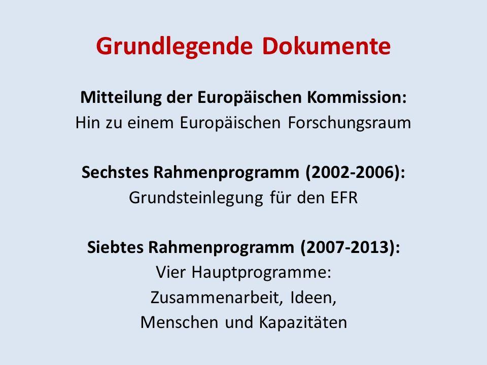 Grundlegende Dokumente Mitteilung der Europäischen Kommission: Hin zu einem Europäischen Forschungsraum Sechstes Rahmenprogramm (2002-2006): Grundsteinlegung für den EFR Siebtes Rahmenprogramm (2007-2013): Vier Hauptprogramme: Zusammenarbeit, Ideen, Menschen und Kapazitäten