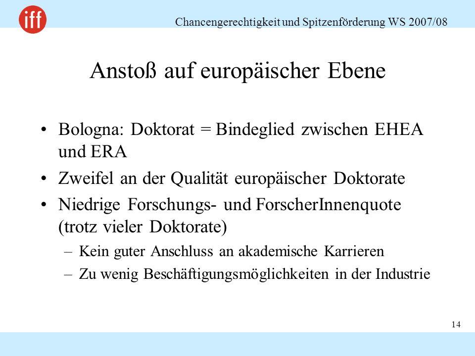 Chancengerechtigkeit und Spitzenförderung WS 2007/08 14 Anstoß auf europäischer Ebene Bologna: Doktorat = Bindeglied zwischen EHEA und ERA Zweifel an