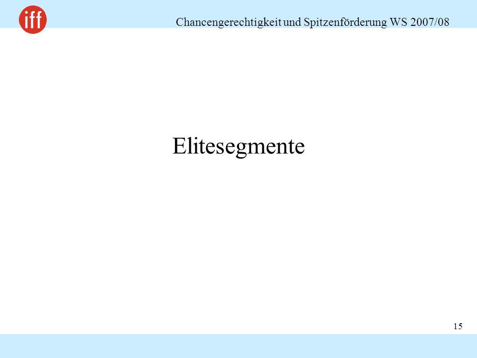 Chancengerechtigkeit und Spitzenförderung WS 2007/08 15 Elitesegmente