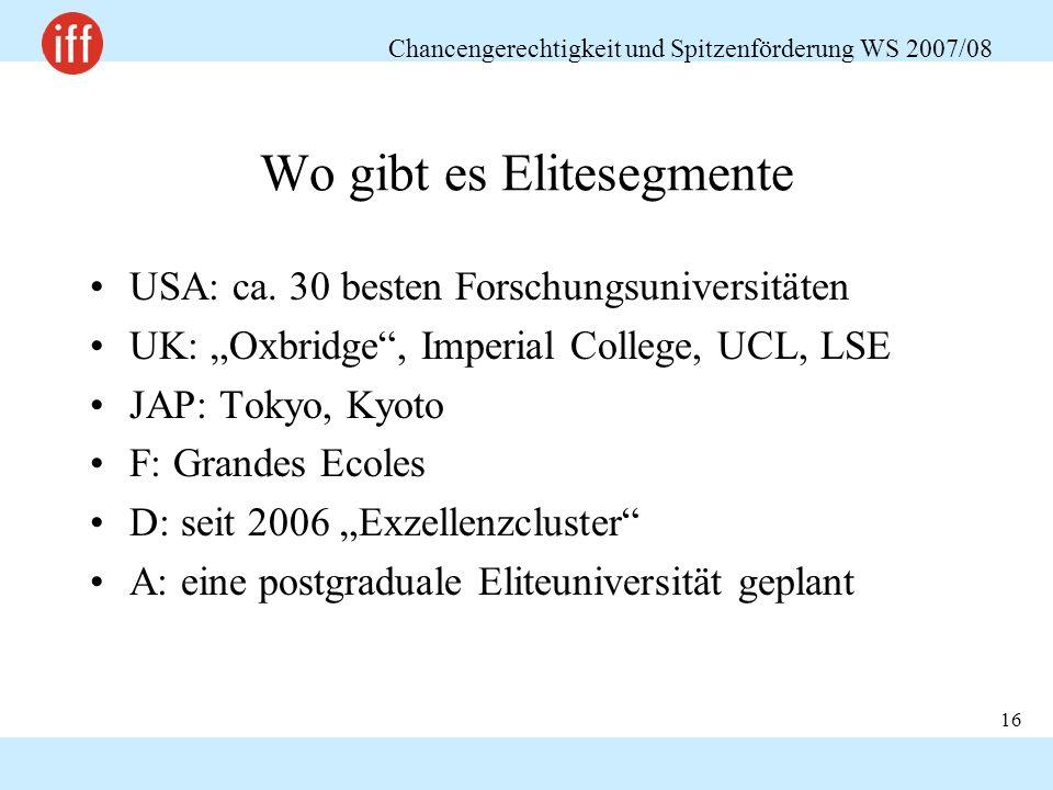 Chancengerechtigkeit und Spitzenförderung WS 2007/08 16 Wo gibt es Elitesegmente USA: ca. 30 besten Forschungsuniversitäten UK: Oxbridge, Imperial Col