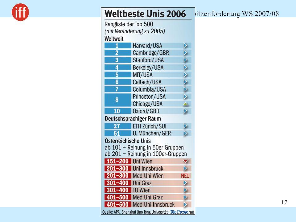 Chancengerechtigkeit und Spitzenförderung WS 2007/08 17