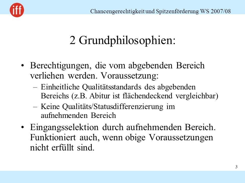 Chancengerechtigkeit und Spitzenförderung WS 2007/08 3 2 Grundphilosophien: Berechtigungen, die vom abgebenden Bereich verliehen werden. Voraussetzung