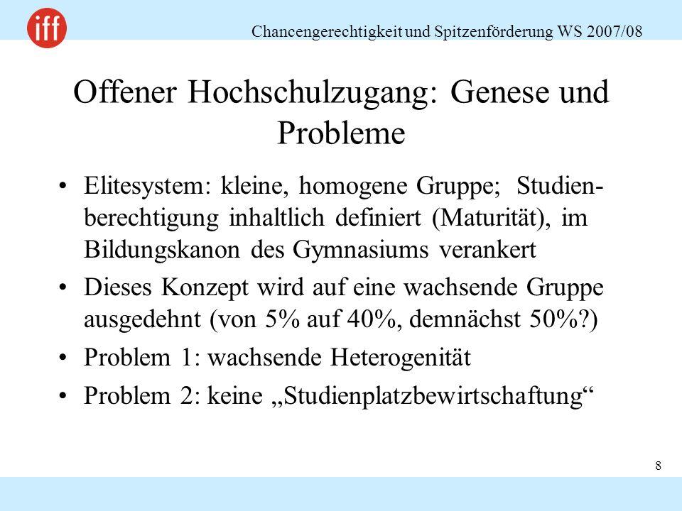 Chancengerechtigkeit und Spitzenförderung WS 2007/08 8 Offener Hochschulzugang: Genese und Probleme Elitesystem: kleine, homogene Gruppe; Studien- ber