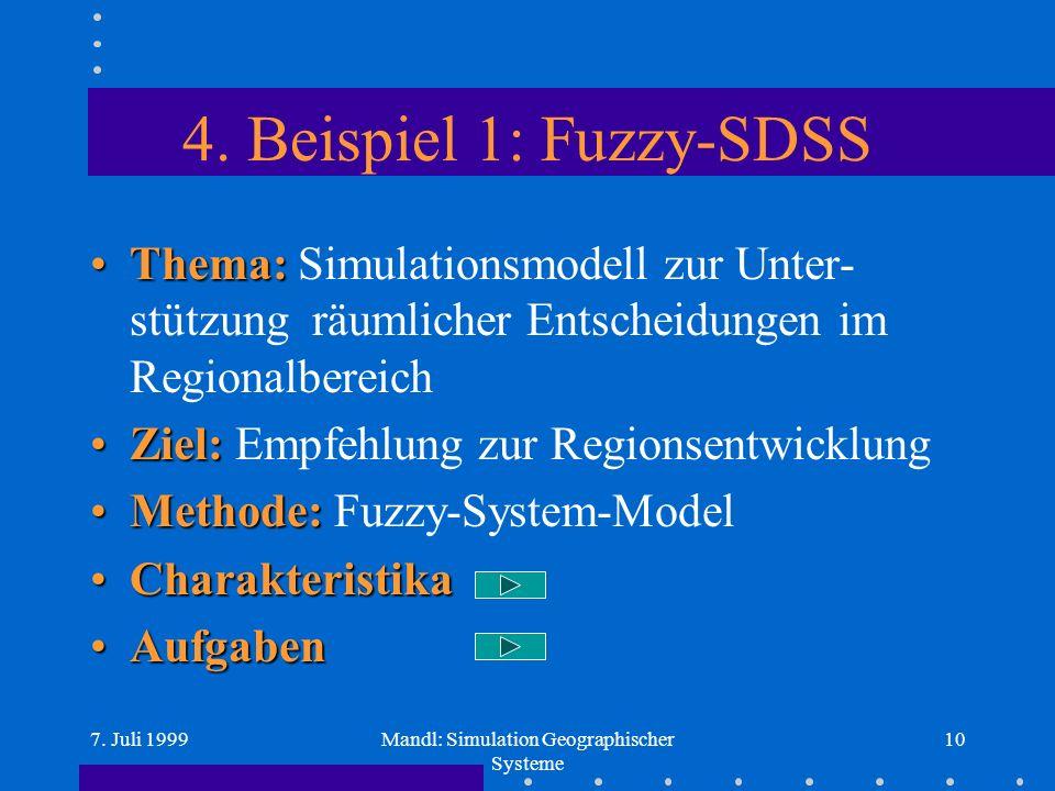 7. Juli 1999Mandl: Simulation Geographischer Systeme 10 4.