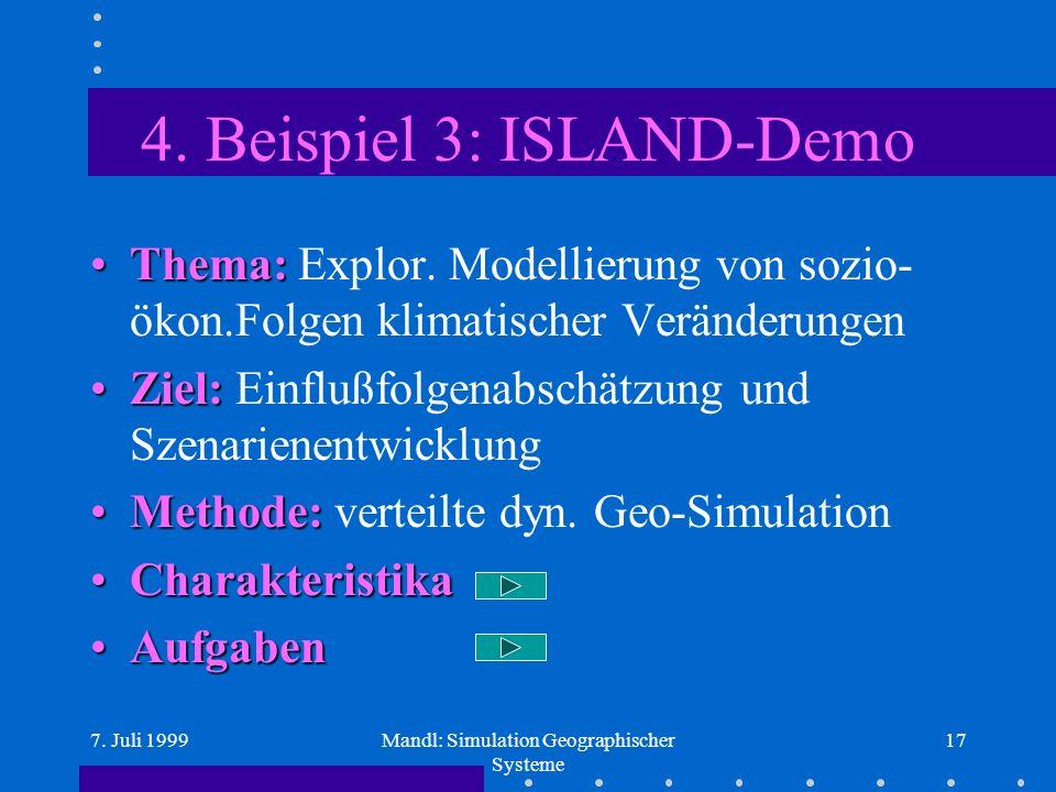 7. Juli 1999Mandl: Simulation Geographischer Systeme 17 4.