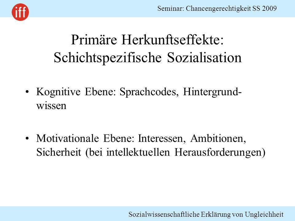 Sozialwissenschaftliche Erklärung von Ungleichheit Seminar: Chancengerechtigkeit SS 2009 Primäre Herkunftseffekte: Schichtspezifische Sozialisation Ko