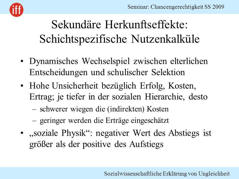 Sozialwissenschaftliche Erklärung von Ungleichheit Seminar: Chancengerechtigkeit SS 2009 Sekundäre Herkunftseffekte: Schichtspezifische Nutzenkalküle