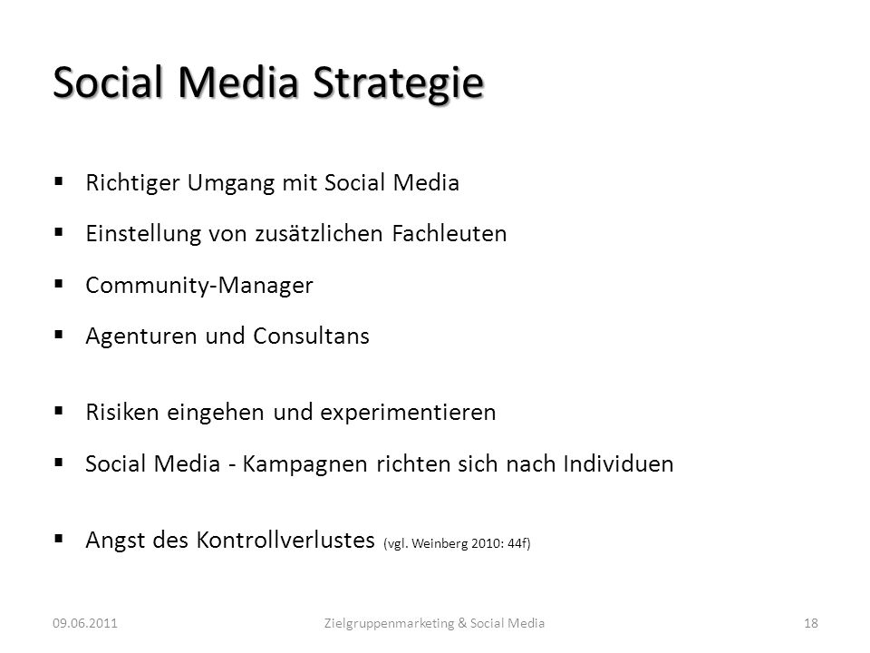 Social Media Strategie Richtiger Umgang mit Social Media Einstellung von zusätzlichen Fachleuten Community-Manager Agenturen und Consultans Risiken ei