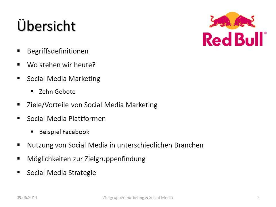 Übersicht Begriffsdefinitionen Wo stehen wir heute? Social Media Marketing Zehn Gebote Ziele/Vorteile von Social Media Marketing Social Media Plattfor