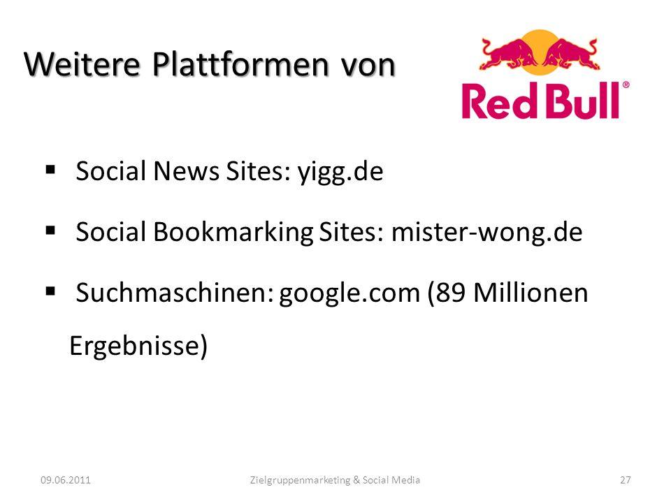 Weitere Plattformen von Social News Sites: yigg.de Social Bookmarking Sites: mister-wong.de Suchmaschinen: google.com (89 Millionen Ergebnisse) 09.06.