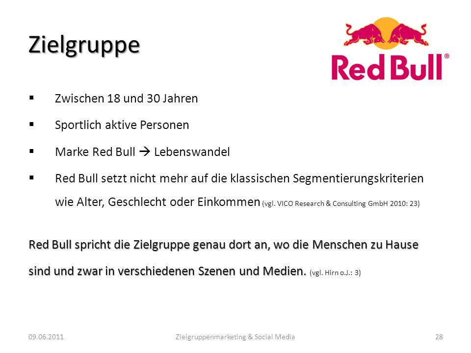 Zielgruppe Zwischen 18 und 30 Jahren Sportlich aktive Personen Marke Red Bull Lebenswandel Red Bull setzt nicht mehr auf die klassischen Segmentierung