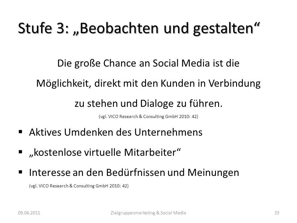 Stufe 3: Beobachten und gestalten Die große Chance an Social Media ist die Möglichkeit, direkt mit den Kunden in Verbindung zu stehen und Dialoge zu f