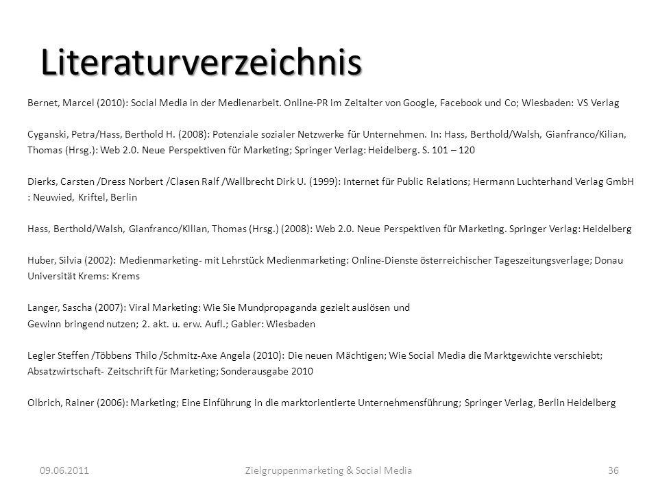 Literaturverzeichnis Bernet, Marcel (2010): Social Media in der Medienarbeit. Online-PR im Zeitalter von Google, Facebook und Co; Wiesbaden: VS Verlag