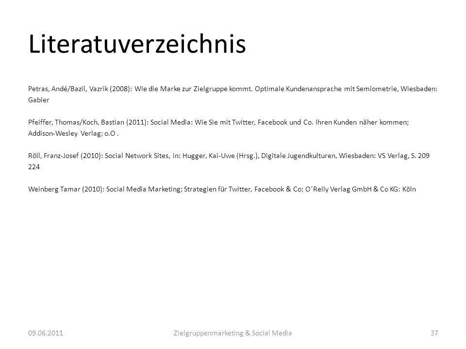 Literatuverzeichnis Petras, Andé/Bazil, Vazrik (2008): Wie die Marke zur Zielgruppe kommt. Optimale Kundenansprache mit Semiometrie, Wiesbaden: Gabler