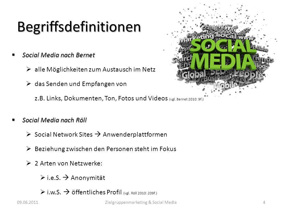 Begriffsdefinitionen Social Media nach Bernet Social Media nach Bernet alle Möglichkeiten zum Austausch im Netz das Senden und Empfangen von z.B. Link