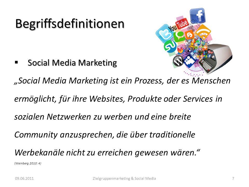 Begriffsdefinitionen Social Media Marketing Social Media Marketing ist ein Prozess, der es Menschen ermöglicht, für ihre Websites, Produkte oder Servi