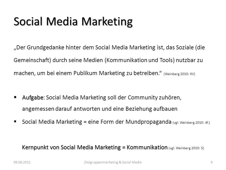 Social Media Marketing Der Grundgedanke hinter dem Social Media Marketing ist, das Soziale (die Gemeinschaft) durch seine Medien (Kommunikation und To