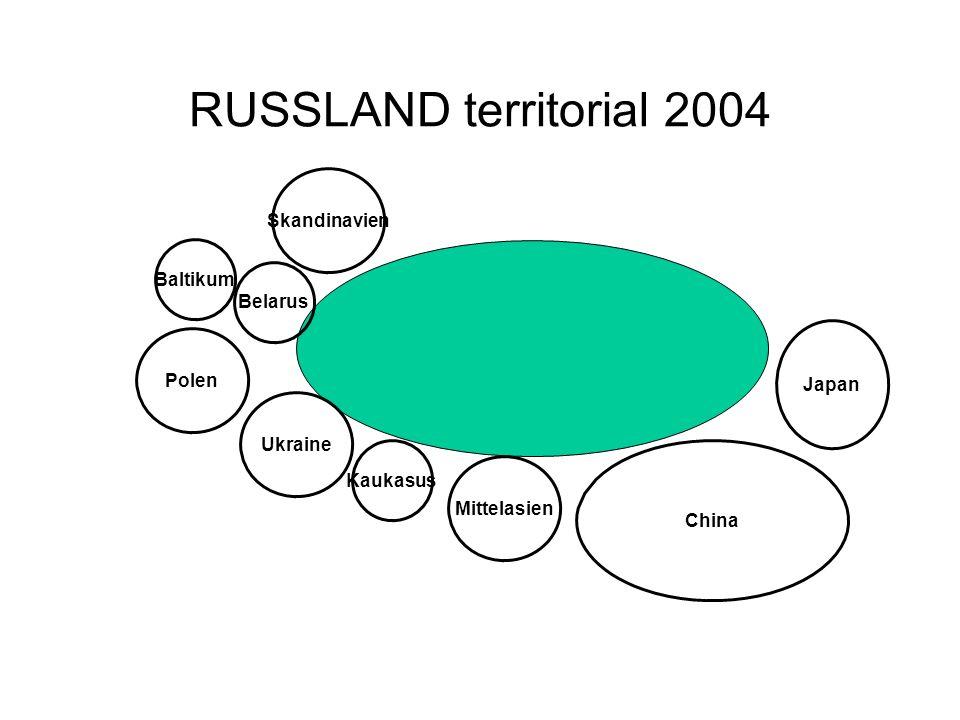 RUSSLAND territorial 2004 Skandinavien Baltikum Polen Ukraine Kaukasus Mittelasien China Japan Belarus