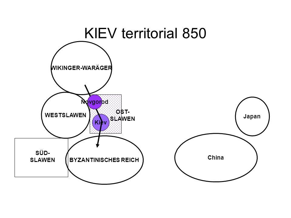 KIEV territorial 850 Kiev WIKINGER-WARÄGER WESTSLAWEN China Japan BYZANTINISCHES REICH Novgorod OST- SLAWEN SÜD- SLAWEN