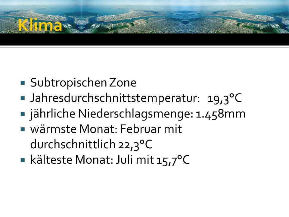 Subtropischen Zone Jahresdurchschnittstemperatur: 19,3°C jährliche Niederschlagsmenge: 1.458mm wärmste Monat: Februar mit durchschnittlich 22,3°C kält