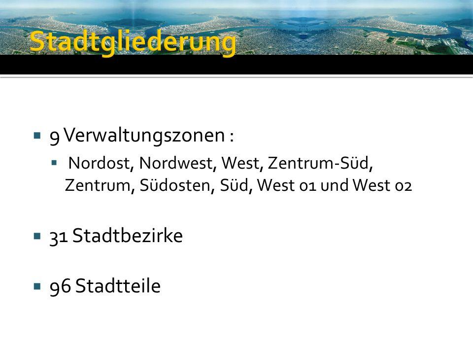 9 Verwaltungszonen : Nordost, Nordwest, West, Zentrum-Süd, Zentrum, Südosten, Süd, West 01 und West 02 31 Stadtbezirke 96 Stadtteile
