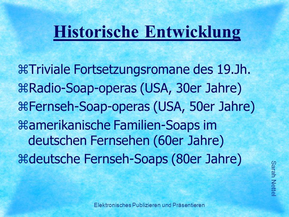 Sarah Nettel Elektronisches Publizieren und Präsentieren Historische Entwicklung zTriviale Fortsetzungsromane des 19.Jh. zRadio-Soap-operas (USA, 30er