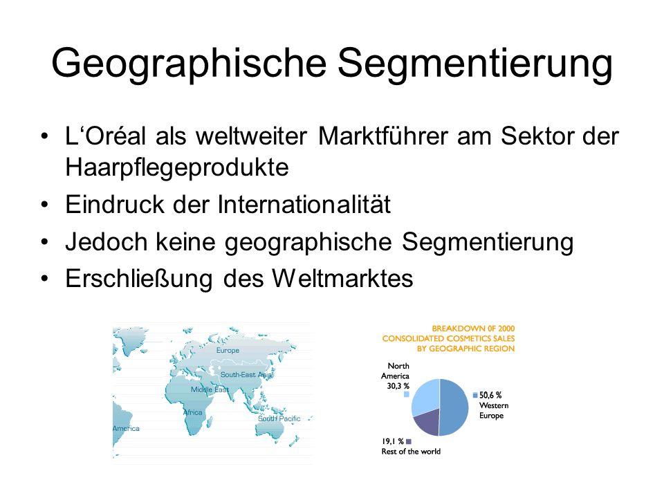 Geographische Segmentierung LOréal als weltweiter Marktführer am Sektor der Haarpflegeprodukte Eindruck der Internationalität Jedoch keine geographisc