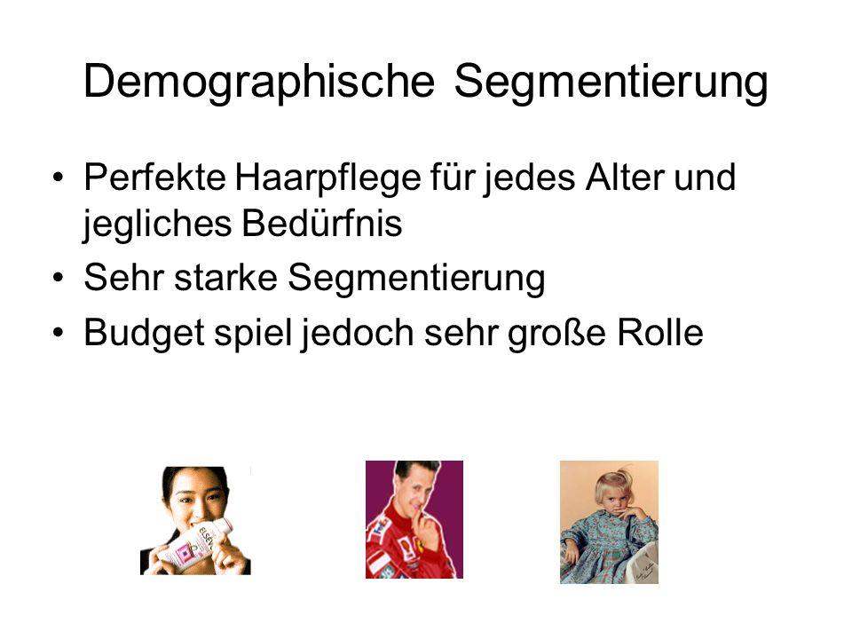 Demographische Segmentierung Perfekte Haarpflege für jedes Alter und jegliches Bedürfnis Sehr starke Segmentierung Budget spiel jedoch sehr große Roll