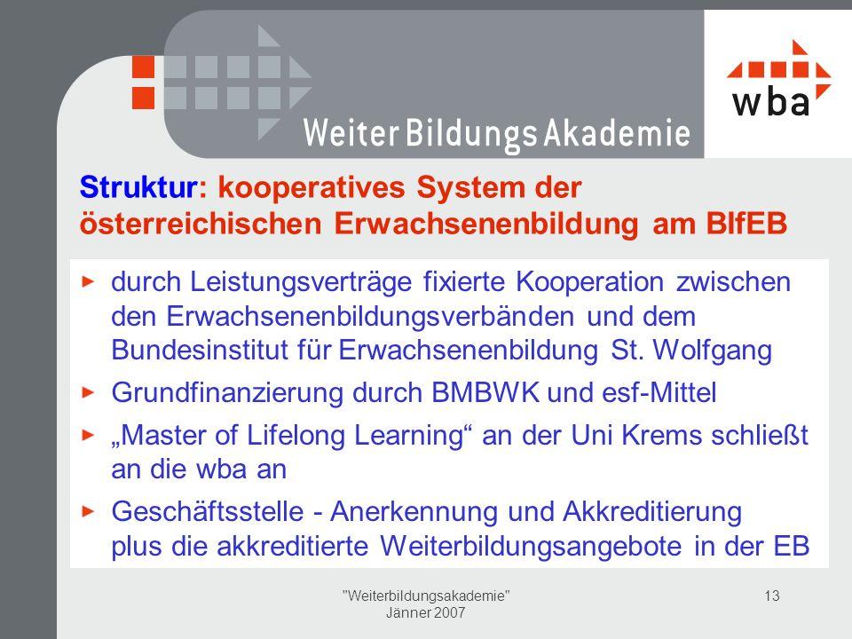 Weiterbildungsakademie Jänner 2007 13 Struktur: kooperatives System der österreichischen Erwachsenenbildung am BIfEB durch Leistungsverträge fixierte Kooperation zwischen den Erwachsenenbildungsverbänden und dem Bundesinstitut für Erwachsenenbildung St.