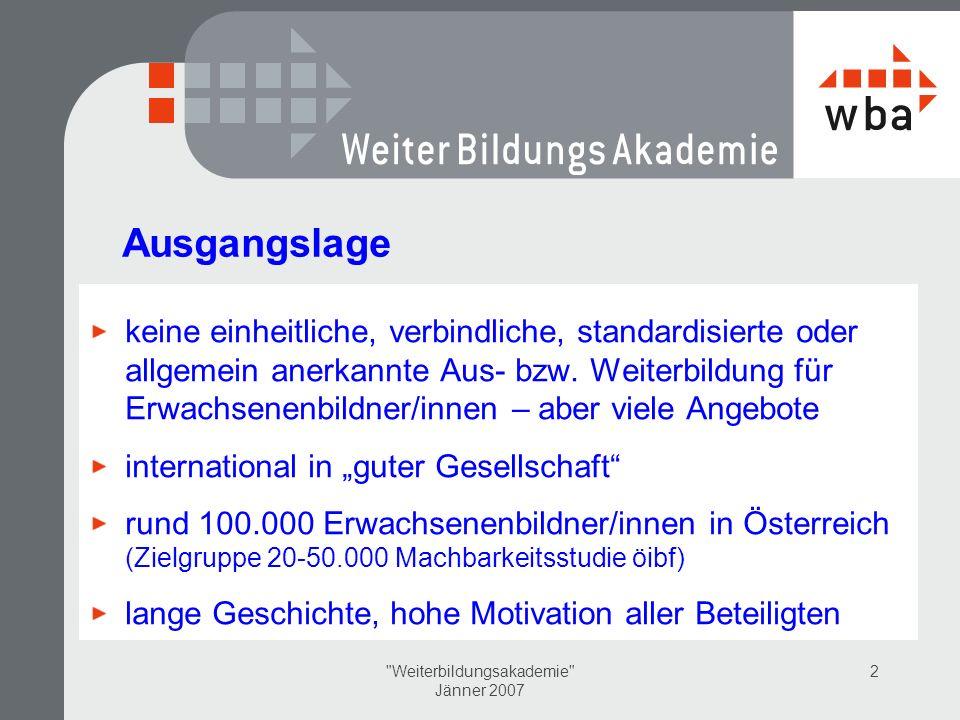 Weiterbildungsakademie Jänner 2007 2 Ausgangslage keine einheitliche, verbindliche, standardisierte oder allgemein anerkannte Aus- bzw.