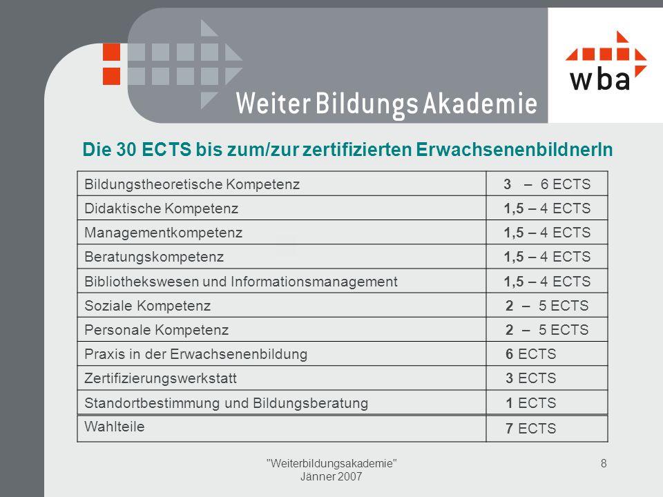 Weiterbildungsakademie Jänner 2007 8 Die 30 ECTS bis zum/zur zertifizierten ErwachsenenbildnerIn Bildungstheoretische Kompetenz3 – 6 ECTS Didaktische Kompetenz1,5 – 4 ECTS Managementkompetenz1,5 – 4 ECTS Beratungskompetenz1,5 – 4 ECTS Bibliothekswesen und Informationsmanagement1,5 – 4 ECTS Soziale Kompetenz2 – 5 ECTS Personale Kompetenz2 – 5 ECTS Praxis in der Erwachsenenbildung 6 ECTS Zertifizierungswerkstatt 3 ECTS Standortbestimmung und Bildungsberatung 1 ECTS Wahlteile 7 ECTS