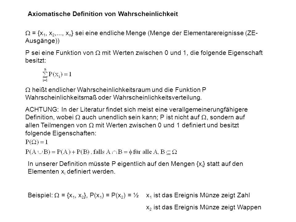 Axiomatische Definition von Wahrscheinlichkeit = {x 1, x 2,..., x n } sei eine endliche Menge (Menge der Elementarereignisse (ZE- Ausgänge)) P sei eine Funktion von mit Werten zwischen 0 und 1, die folgende Eigenschaft besitzt: heißt endlicher Wahrscheinlichkeitsraum und die Funktion P Wahrscheinlichkeitsmaß oder Wahrscheinlichkeitsverteilung.
