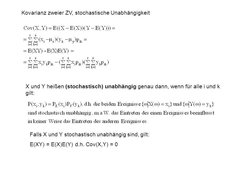 Kovarianz zweier ZV, stochastische Unabhängigkeit X und Y heißen (stochastisch) unabhängig genau dann, wenn für alle i und k gilt: Falls X und Y stochastisch unabhängig sind, gilt: E(XY) = E(X)E(Y) d.h.