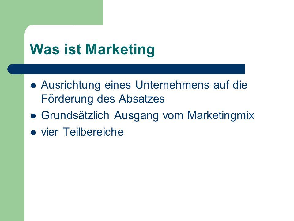 Was ist Marketing Ausrichtung eines Unternehmens auf die Förderung des Absatzes Grundsätzlich Ausgang vom Marketingmix vier Teilbereiche