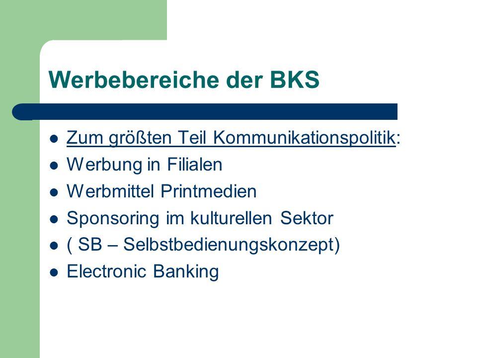 Werbebereiche der BKS Zum größten Teil Kommunikationspolitik: Werbung in Filialen Werbmittel Printmedien Sponsoring im kulturellen Sektor ( SB – Selbs