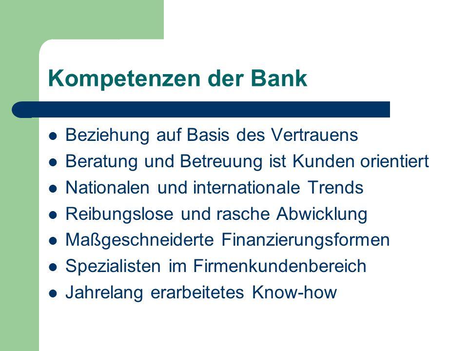 Kompetenzen der Bank Beziehung auf Basis des Vertrauens Beratung und Betreuung ist Kunden orientiert Nationalen und internationale Trends Reibungslose