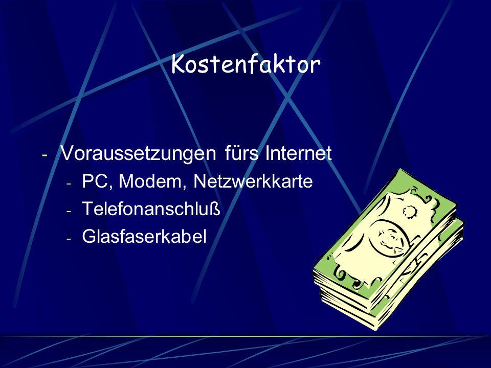 Kostenfaktor - Voraussetzungen fürs Internet - PC, Modem, Netzwerkkarte - Telefonanschluß - Glasfaserkabel