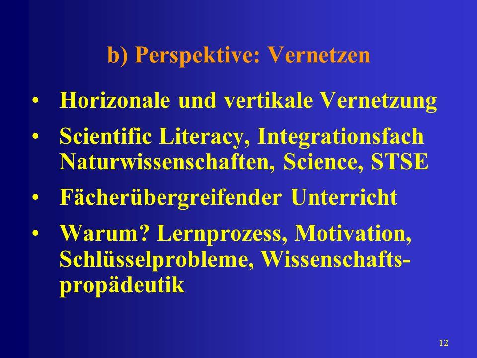 12 b) Perspektive: Vernetzen Horizonale und vertikale Vernetzung Scientific Literacy, Integrationsfach Naturwissenschaften, Science, STSE Fächerübergr