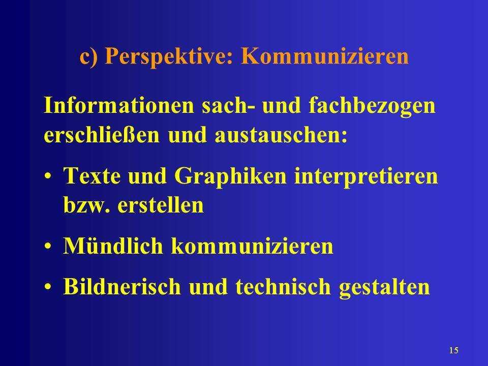 15 c) Perspektive: Kommunizieren Informationen sach- und fachbezogen erschließen und austauschen: Texte und Graphiken interpretieren bzw. erstellen Mü